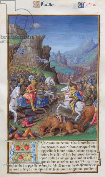 MS CCC 385 f.235r The Battle of Gibeon, from a collection of biblical extracts, French, very early 16th century (parchment)