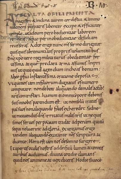Ms. 197 f.1r Rule of St. Benedict (vellum)