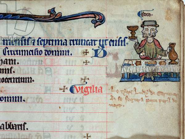 MS CCC 285 f.3 A three-headed man drinking, illustration for January in the calendar of a psalter, c.1250-75 (vellum)