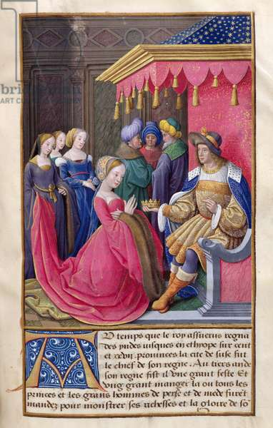 MS CCC 386 f.308 Esther before King Ahasuerus of Persia, from a collection of biblical extracts. French, very early 16th century (parchment)