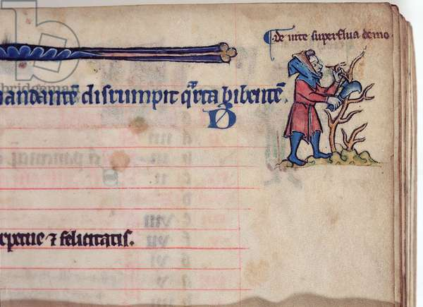 MS CCC 285 f.4 A man pruning a bush, illustration for March, from the calendar of a psalter, English, c.1250-75 (parchment)