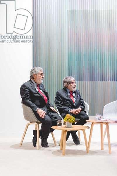 "Carlos Cruz-Diez and his son Carlos Cruz Delgado, contemporary art fair ""Art Basel"", UBS Lounge Art Collection, Basel, Switzerland, 2018 (photo)"