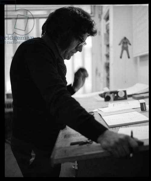"Carlos Cruz-Diez in his design studio ""La Boucherie"",  23 rue Pierre Sémard, Paris, c.1970 (b/w photo)"