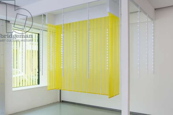 Chromoscope spatial, 1967 (light bars, aluminium, wood and silk fabric)