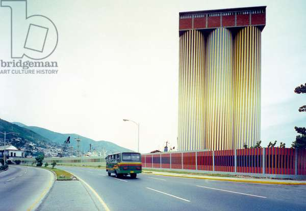 Mural de Inducción Cromática por cambio de frecuencia, 1989-90 (alkyd paint on concrete)