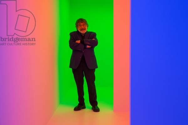Carlos Cruz-Diez in the Chromosaturation SCAD, 2017 (chromatic environment composed of fluorescent tubes with red, green and blue coloured filters  )