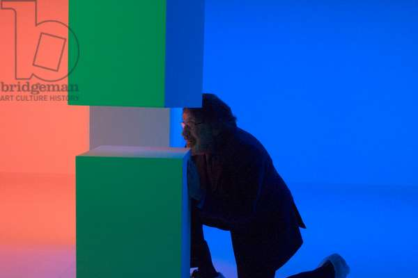 Carlos Cruz-Diez in a Cromosaturación, 2006 (chromatic environment composed of fluorescent tubes with red, green and blue coloured filters)