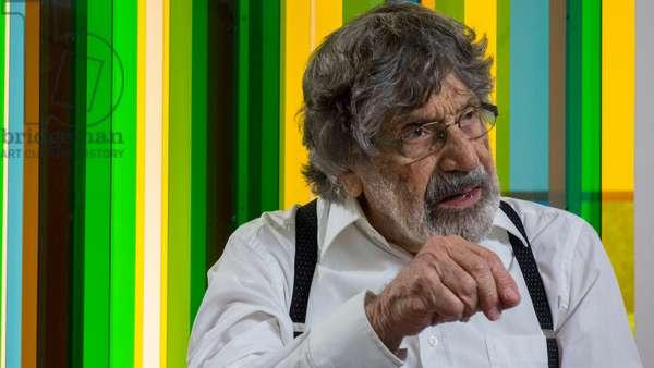 Carlos Cruz-Diez in interview in front of a Transchromie, 2015