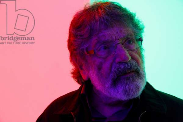 Carlos Cruz-Diez in a Cromosaturación, 2013 (chromatic environment composed of fluorescent tubes with red, green and blue coloured filters )