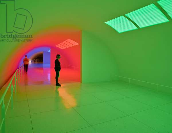 Chromosaturation MFAH, Three color spaces, 1965-2017 (LED tubes with blue, green and red filters)