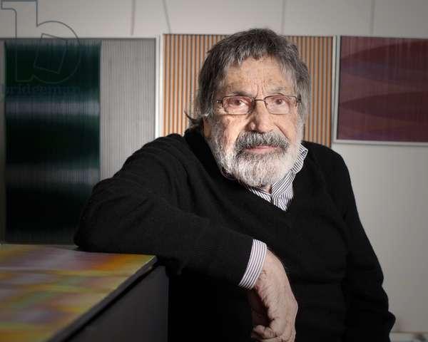 Carlos Cruz-Diez in his artist's studio, 2011