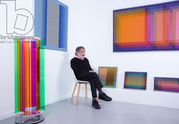 Carlos Cruz-Diez in his artist's studio, 2017