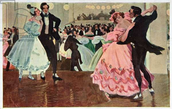 Art. Dance. Couple dancing the waltz: The Blue Danube, by Johann Strauss II. Postcard by Leo Delitz, France, c.1910-20 (postcard)