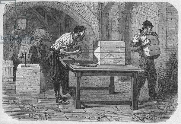 Science. Soap making in Marseille: cutting the soap. Engraving in: Grands hommes et grands faits de l'industrie, France, c.1880 (engraving)