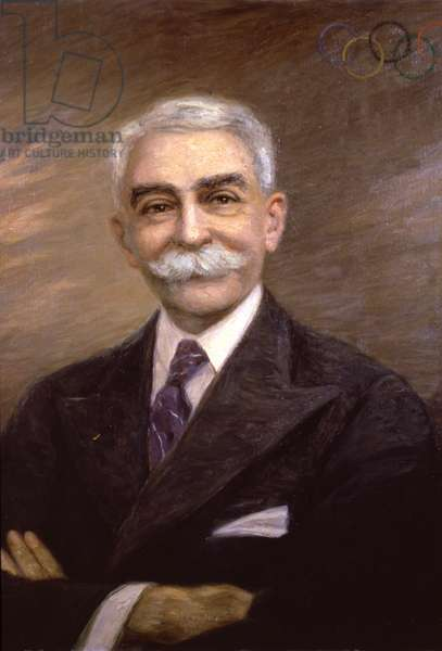 Sport. Olympic games. The baron Pierre de Coubertin, father of the modern Olympic Games. Painting, France, c.1900 (oil on canvas)