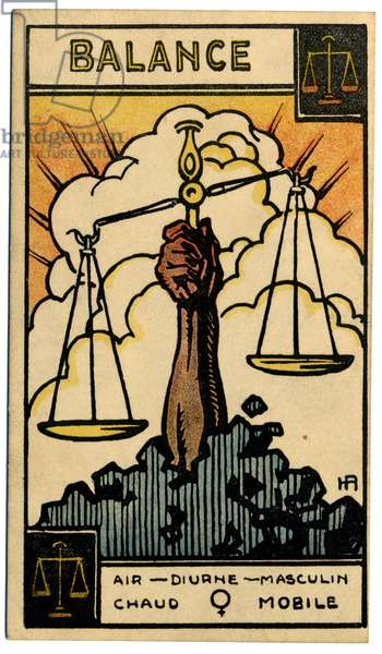 Paranormal. Astrology. Libra (the Scales). Astrologic card from: Le Tarot Astrologique (Astrological Tarot), by Georges Muchery, France, 1927