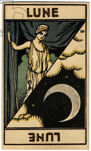 Paranormal. Astrology. The Moon. Astrologic card from: Le Tarot Astrologique (Astrological Tarot), by Georges Muchery, France, 1927