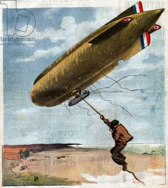 Dirigeable a la derive. Drifting zeppelin.