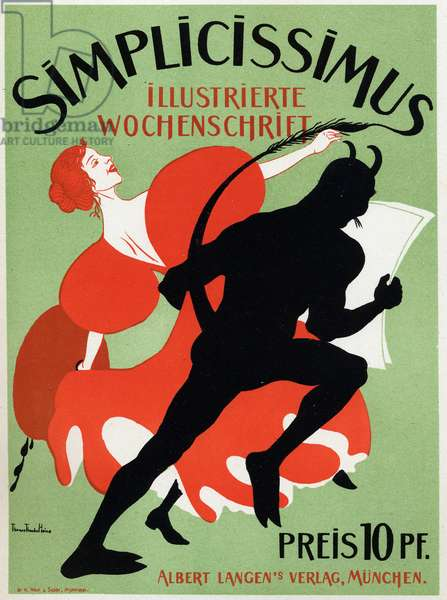 Art. Literature. The magazine Simplicissimus. Poster by Thomas Thedor Heine, Germany, c.1890 (poster)