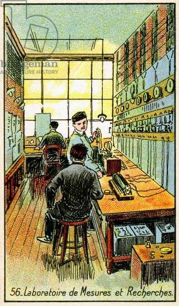 Science. Energy. Laboratory of measurement. Imagery from a series on the Wonder of Electricity, France, c.1910.