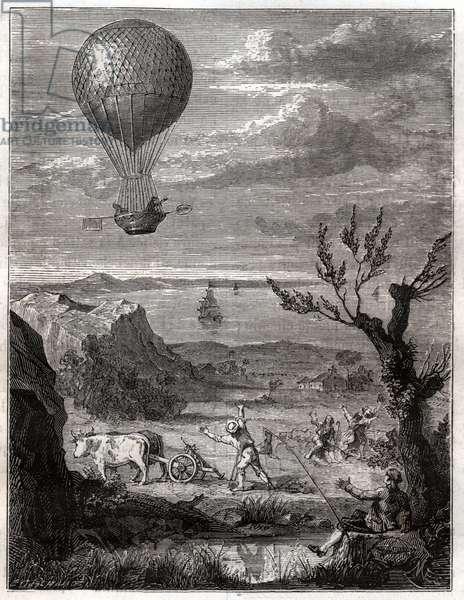 Vol de Jean Pierre Blanchard. Flight of Jean PIerre Blanchard.