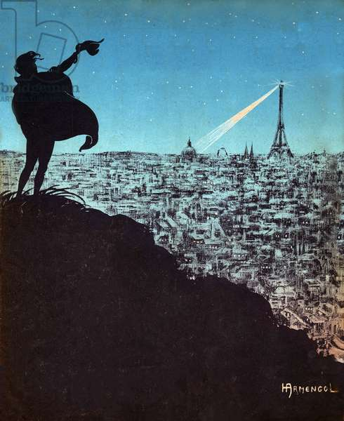 Paris and the Eiffel Tower. (engraving, 1919)