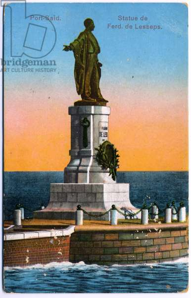 Geography. Egypt. Suez Canal, statue of Ferdinand de Lesseps at Port Said. Postcard, France, c.1900 (postcard)
