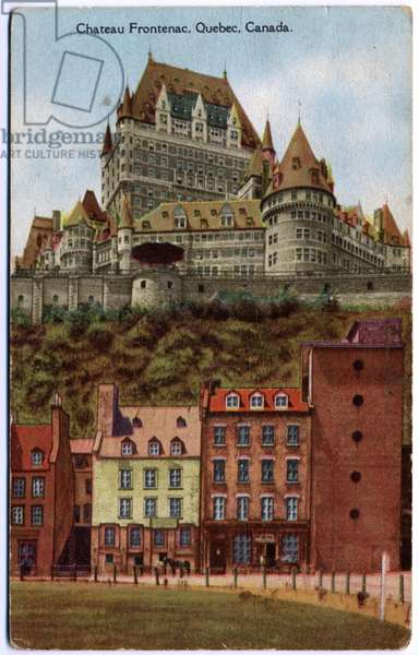 Geography. Canada. The Chateau Frontenac grand hotel in Quebec City. Postcard, Canada, c.1920 (postcard)