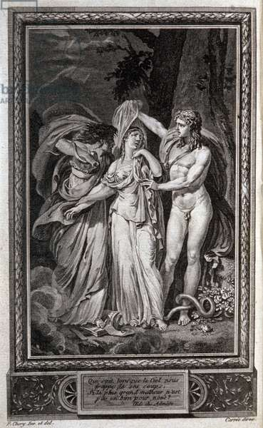 Literature. Justine. Frontispiece by P. Chery in: Justine, by the Marquis de Sade, Netherlands, 1791. (colour engraving)