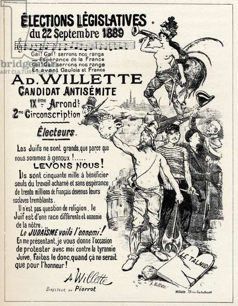 A. Willette, antisemite candidate running in the 9th judgment of Paris in the elections of 1889