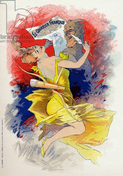 Literature. The newspaper Le Courrier Francais. Allegory by Jules Cheret, France, c.1890 (poster)