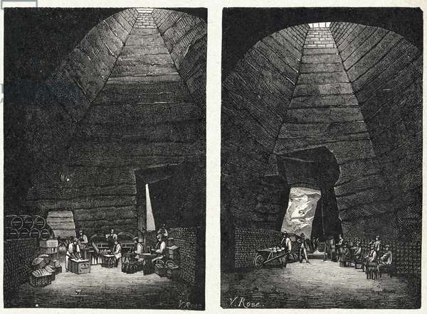 Food and Beverage. Champagne making: Old chalk quarries tranformed in Champagne cellars around Reims. Engraving in: Grands hommes et grands faits de l'industrie, France, c.1880 (engraving)