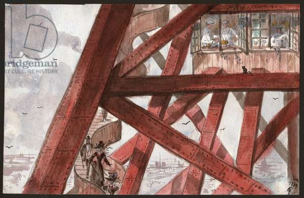 Tourists on the Eiffel Tower. (illustration, 1889)