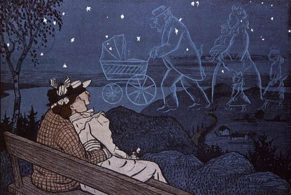 Couple out in the open, looking at their future in the stars: childs, family. Illustration by Th.Th. Heine in: Simplicissimus, Germany, 1898 (lithograph)