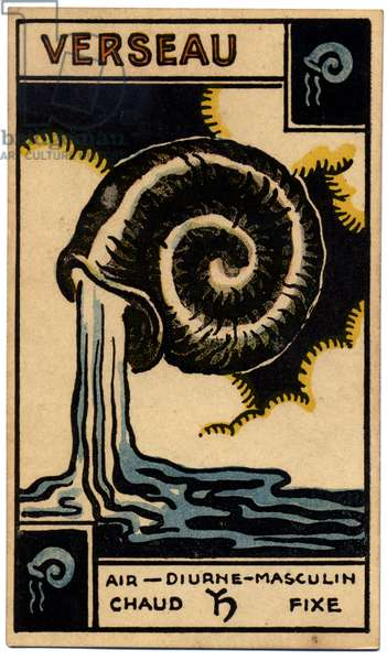 Paranormal. Astrology. Aquarius (the Water Bearer). Astrologic card from: Le Tarot Astrologique (Astrological Tarot), by Georges Muchery, France, 1927