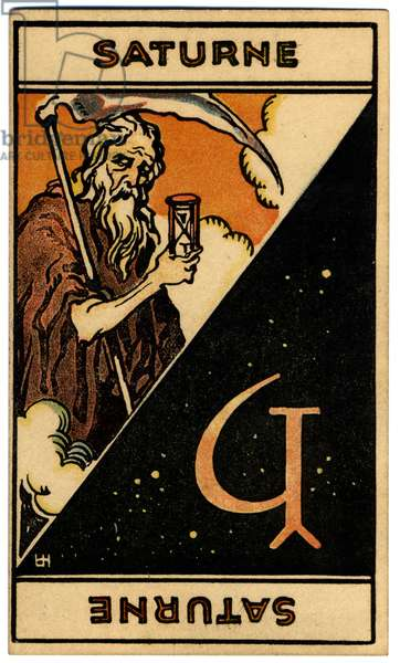 Paranormal. Astrology. Saturn (planet). Astrologic card from: Le Tarot Astrologique (Astrological Tarot), by Georges Muchery, France, 1927 (card)