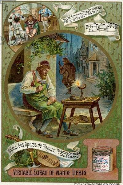 Music. Classical music. Die Meistersinger von Nu?rnberg (The Mastersingers of Nuremberg), opera by R. Wagner. Imagery, France, c.1900 (postcard)