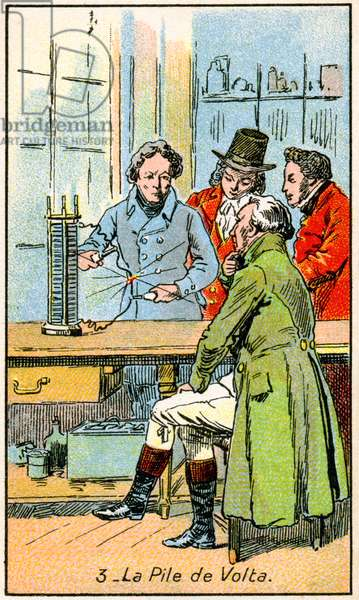 Science. Energy. Alessandro Volta shows his voltaic batery, 1800. Illustration from a series on the Wonders of Electricity, France, c.1910.
