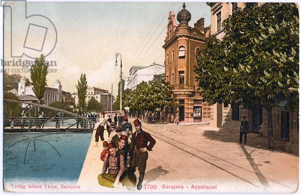 Geography. Bosnia. Sarajevo. The Applequai, place of the assassination of Archduke Franz Ferdinand of Austria, June, 28, 1914.Postcard, Austria, c.1920 (postcard)