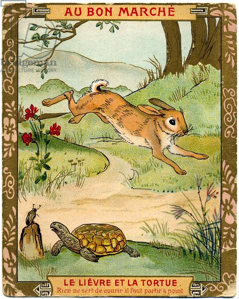 Literature. The Tortoise and the Hare, fable by Jean de La Fontaine. Imagery, France, c.1900.