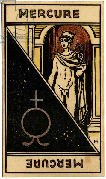Paranormal. Astrology. Mercury (planet). Astrologic card from: Le Tarot Astrologique (Astrological Tarot), by Georges Muchery, France, 1927