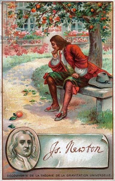 Sciences. Physics. The english physicist Isaac Newton and the apple, 1666. Imagery, France, c.1880.