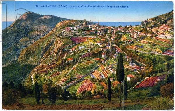 Geography. France. Turbie, landscape in the French Riviera. Postcard, France, c.1920 (postcard)