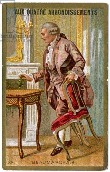 Literature. The french writer PIerre Augustin Caron de Beaumarchais. Imagery from the Parisian Department Store: Aux Quatre Arrondissements, France, c.1900