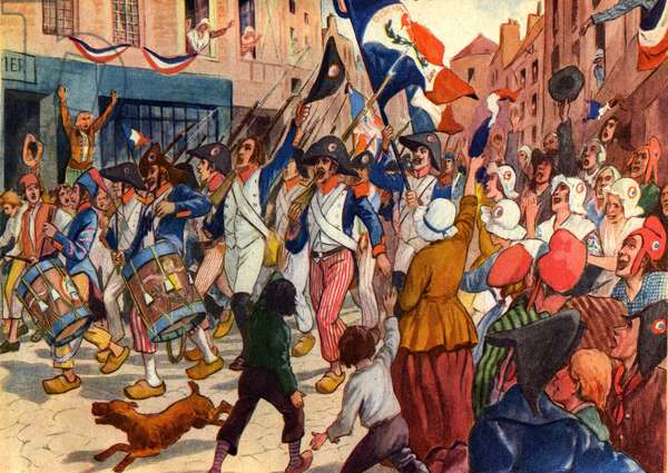 History. French Revolution. The revolutioneers sings the Marseillaise.Illustration in: Belles images d'histoire (schoolbook) , by H. Geron, France, c.1948 Coll. Part. (print)