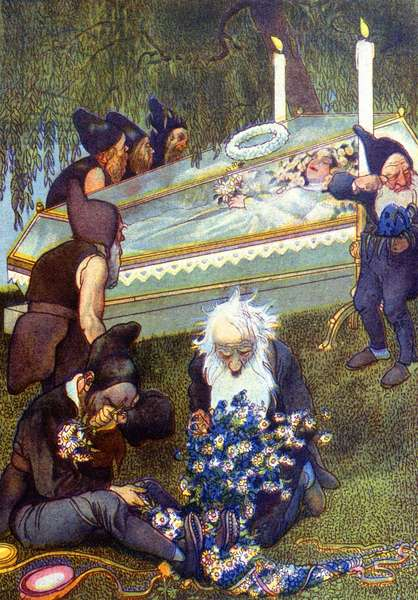 The 7 dwarfs crying Snow White in her coffin