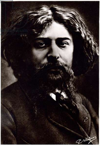 Literature. The french writer Alphonse Daudet. Photo by Paul Nadar, c.1880 (b/w photo)