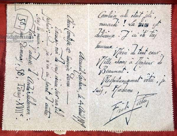 Letter from EriK Satie
