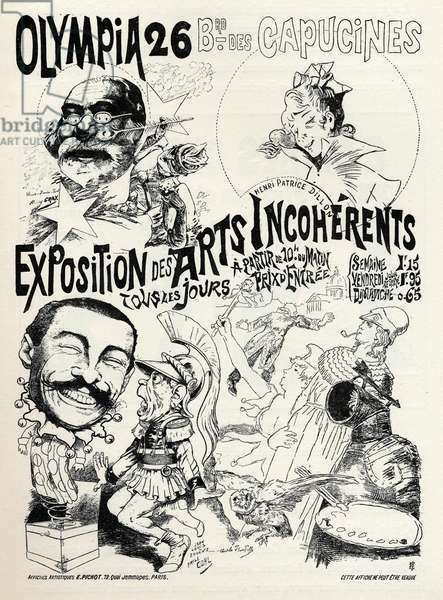 Art. Entertainment. The incoherent arts. Poster for a parisian exposition, France, c.1890 (poster)
