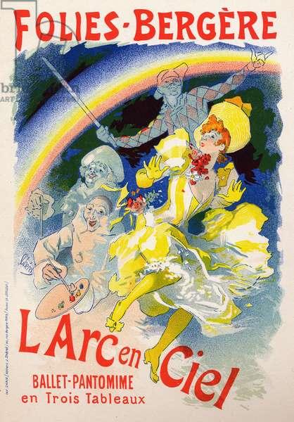 Art. Entertainment. L'Arc en Ciel (the Rainbow), show at the cabaret Les Folies Bergeres, Paris. Poster by Jules Cheret, France, c.1890 (poster)